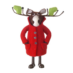 Christmas Standing Moose in Red Felt Coat Decoration by Heaven Sends-The Useful Shop