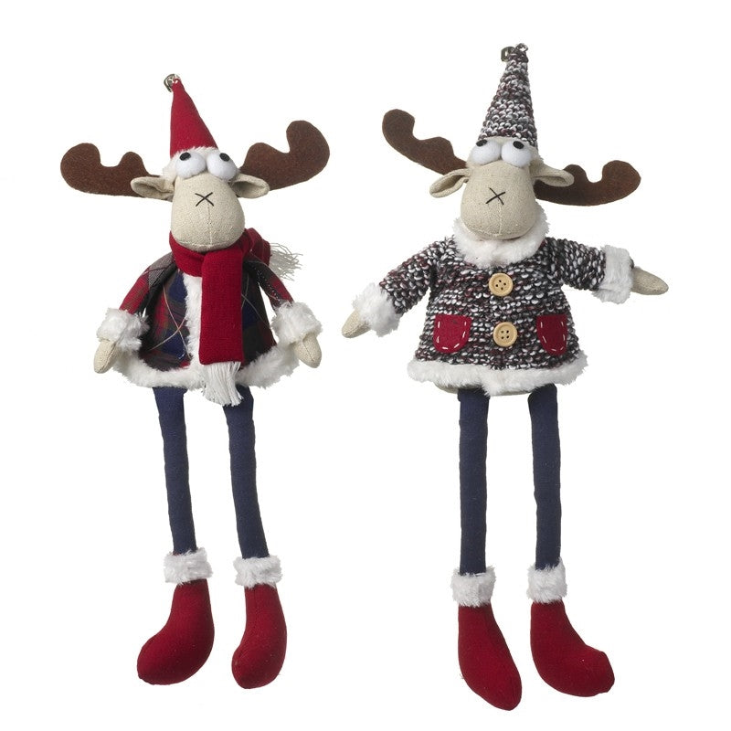 Set of 2 Shelf Sitting Wool & Tartan Christmas Moose Decorations - 1 of each design-The Useful Shop