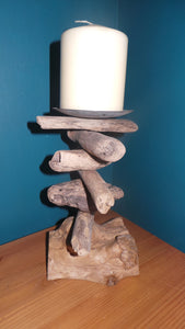 Medium Rustic Driftwood Pillar Candle Holder 20cm with background