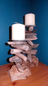 Large Rustic Driftwood Pillar Candle Holder sizes