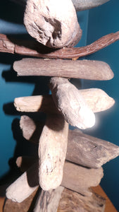 Large Rustic Driftwood Pillar Candle Holder driftwood closeup detail