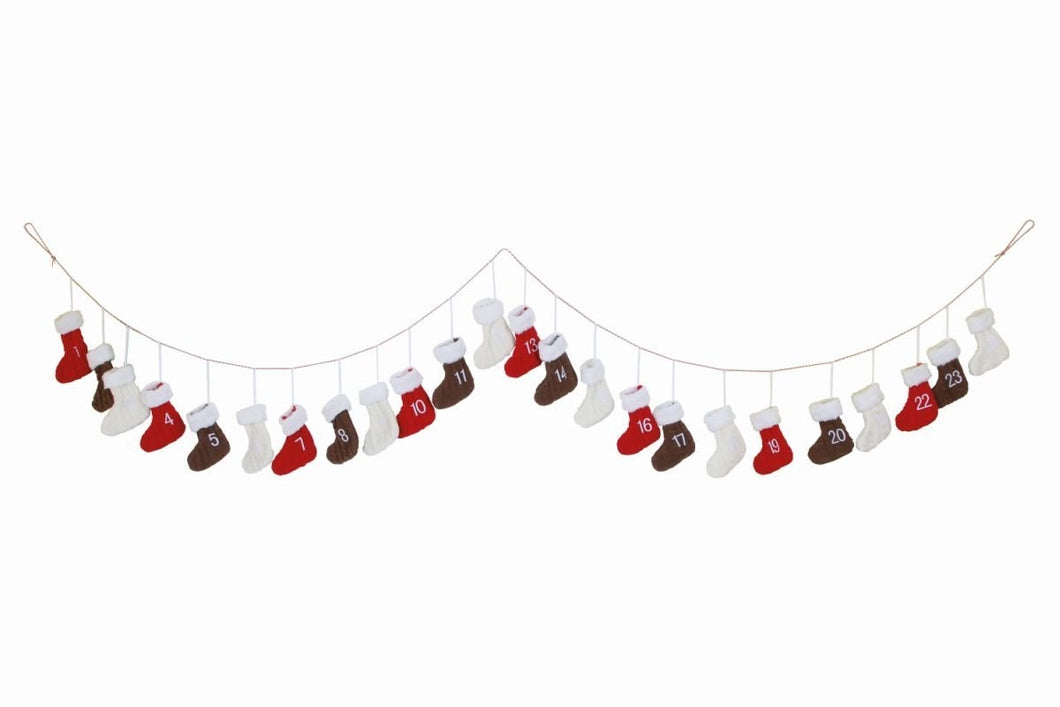 Knitted Boots Christmas Advent Calendar Garland-The Useful Shop