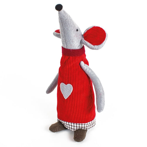 Large Nordic Style Christmas Heart Mouse Standing Decoration by Heaven Sends-The Useful Shop