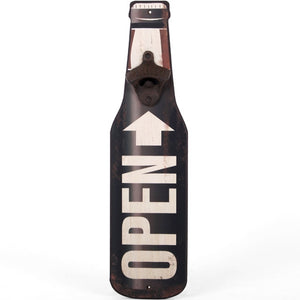 Open Here Beer Bottle Opener Wooden Plaque-The Useful Shop