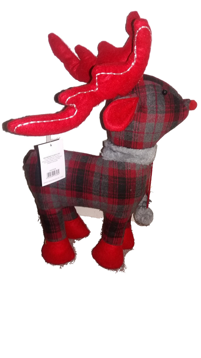Christmas Grey and Red Tartan Fabric Reindeer Standing Decoration