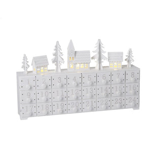 White Wooden Snow Scene Advent Calendar with LED Lighting-The Useful Shop