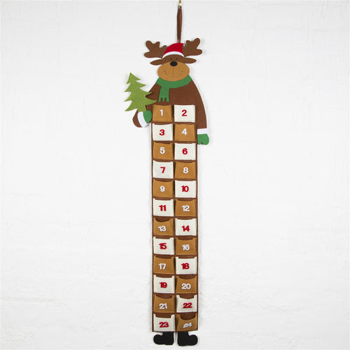 Christmas Reindeer Long Felt Wall Hanging Advent Calendar-The Useful Shop