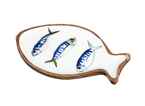 Blue & White Three Fish On A Dish Mackerel Design Platter by Shoeless Joe