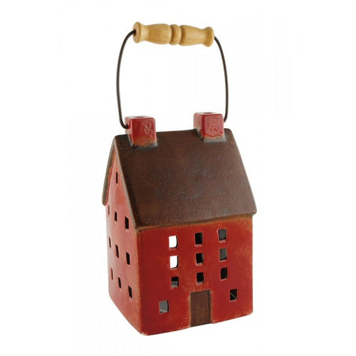 Red Ceramic Town House Decorative Candle Lantern with Handle
