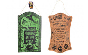 Set of 2 Novelty Halloween Menu Hanging Wooden Boards - Deadly Diner & Witches Way