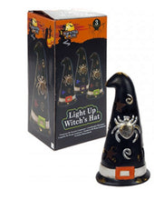 Witches Hat Halloween Decoration with Colour Changing Light - Matt Black and Gold Flecks