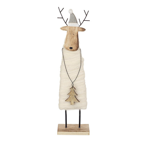 Cute Natural Wood & Wool Standing Deer Christmas Decoration