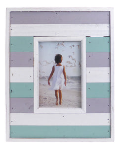 Pastel and White Beach Hut Wooden Picture Photo Frame