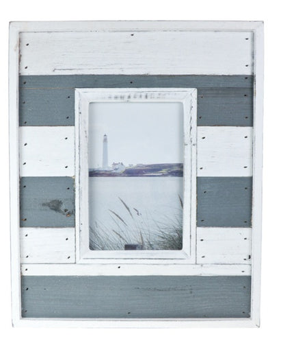 Medium Grey and White Beach Hut Wooden Picture Photo Frame