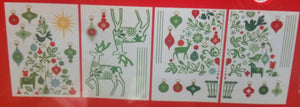 Large Christmas Decorative 4 panel Wall Frieze Christmas Tree and Deer Sticker Set