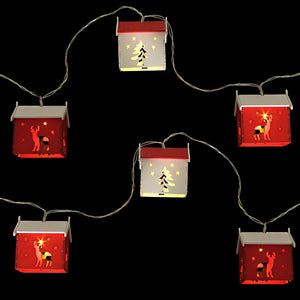 String of Wooden Nordic Red & White Christmas House Lights