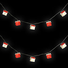 German String of Wooden Nordic Red & White Christmas House Lights