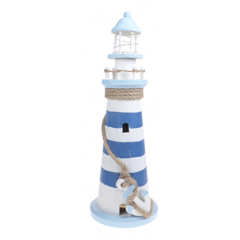 Large Blue and White Wooden Lighthouse Ornament with LED Lighting