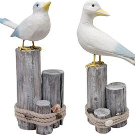 Sea Birds on Beach Driftwood Wooden Ornaments Set of 2