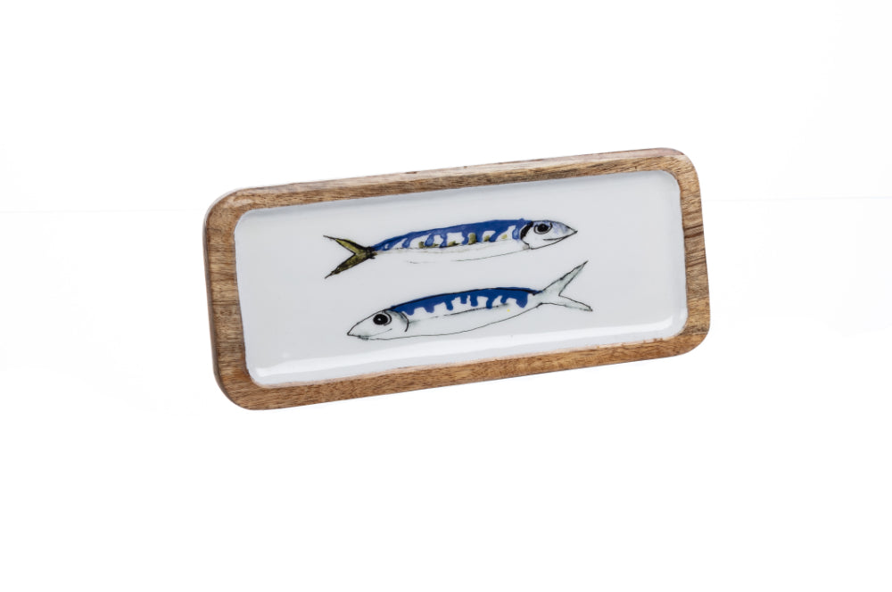 Blue & White Mackerel Design Wood & Melamine Platter 25cm by Shoeless Joe