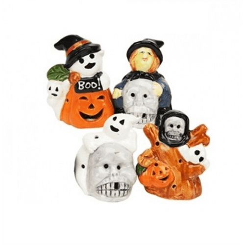 Set of 4 Small Spooky Ceramic Figures with Colour Change LED Lighting for Halloween