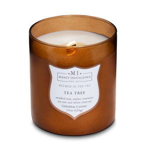 Manly Indulgence Tea Tree Large 15oz Jar Luxury Candle by Colonial Candle