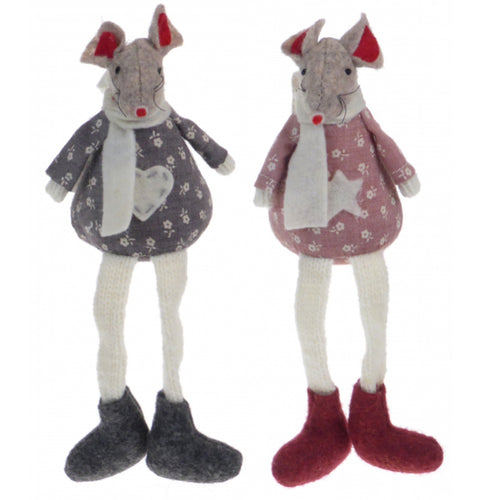 Pair of Cute Pink and Grey Christmas Mouse Shelf Sitters Decorations