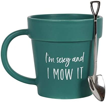 I'm Sexy and I Mow It Plant Pot Shaped Gardeners Mug with Shovel Spoon