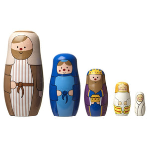 Wooden Christmas Story Nativity Russian Dolls Nesting Set by Heaven Sends