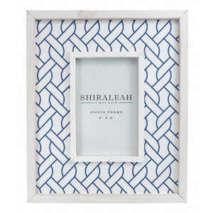 Medium White and Blue Modern Nautical Rope Design Wooden Picture Photo Frame