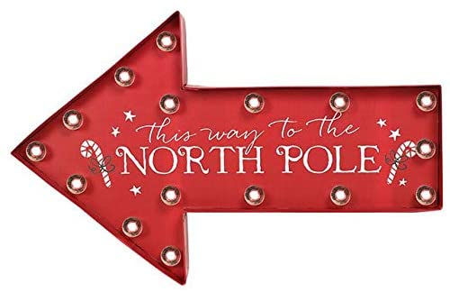 This Way to The North Pole Sight Up Christmas Arrow Sign by Deck The Halls