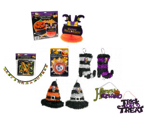 Halloween 10 Piece Quality Party Decoration Set - Banner, Plaques, Table Decorations and More