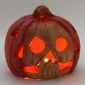 Mexican fairtrade pottery pumpkin Large with light