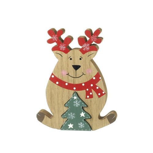Cute Wooden Reindeer with Pop-out Christmas Tree Woodcut Decoration