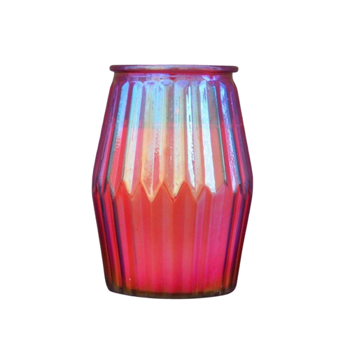 Large Lantern Style Iridescent Red Glass Spiced Pomegranate Candle by Candlelight