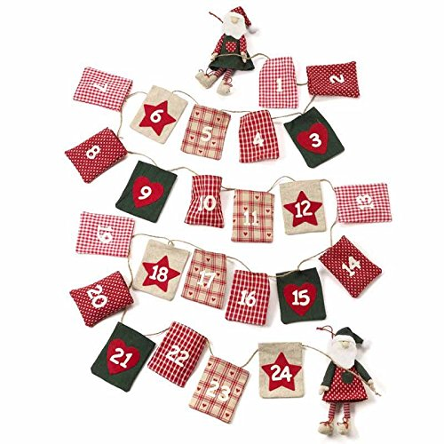 Luxury Santa and Present Sacks Fabric Advent calendar Garland by Heaven Sends