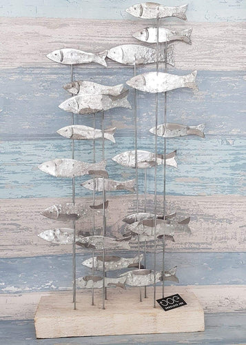 Freestanding Shoal of Fish Metal Artwork Display by Shoeless Joe