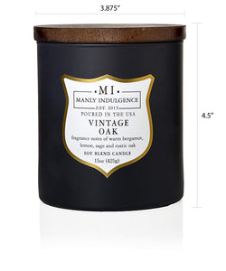 Manly Indulgence Vintage Oak Grey Large 15oz Jar Luxury Candle by Colonial Candle Dimensions