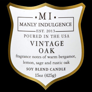 Manly Indulgence Vintage Oak Grey Large 15oz Jar Luxury Candle by Colonial Candle label