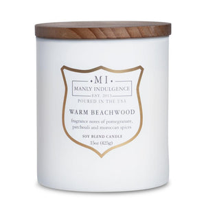Manly Indulgence Warm Beachwood White Large 15oz Jar Luxury Candle by Colonial Candle