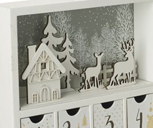 Chistmas Book Style Wooden Advent Calendar White Christmas Theme