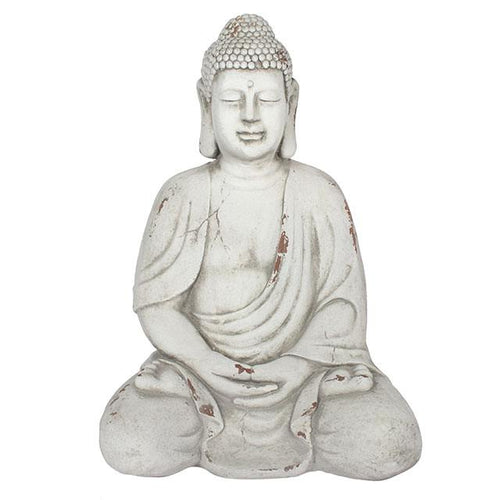 Large Oriental Sitting Buddah Garden Statue 38cm for Garden or Indoors - White-The Useful Shop