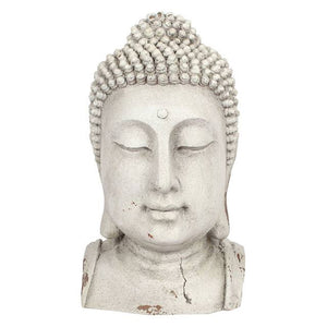 Large Oversized Buddha Head Ornament Statue 41.5cm for Garden or Indoors - White-The Useful Shop