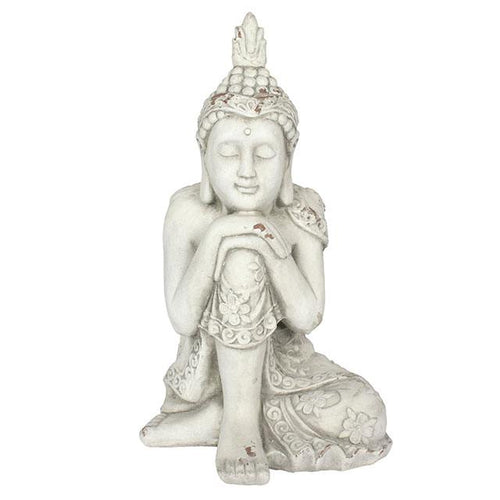 Large Oriental Thoughtful Resting Buddha Garden Statue 56cm for Garden or Indoors - White-The Useful Shop