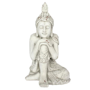 Large Oriental Thoughtful Resting Buddha Garden Statue 56cm For Garden Or  Indoors   White