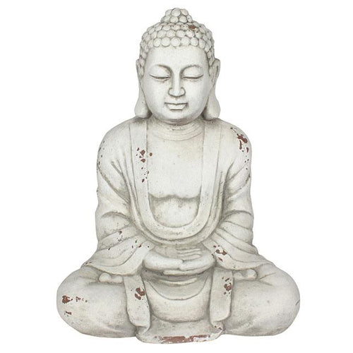 Large Oriental Sitting Meditating Buddah Garden Statue 58cm for Garden or Indoors - White-The Useful Shop