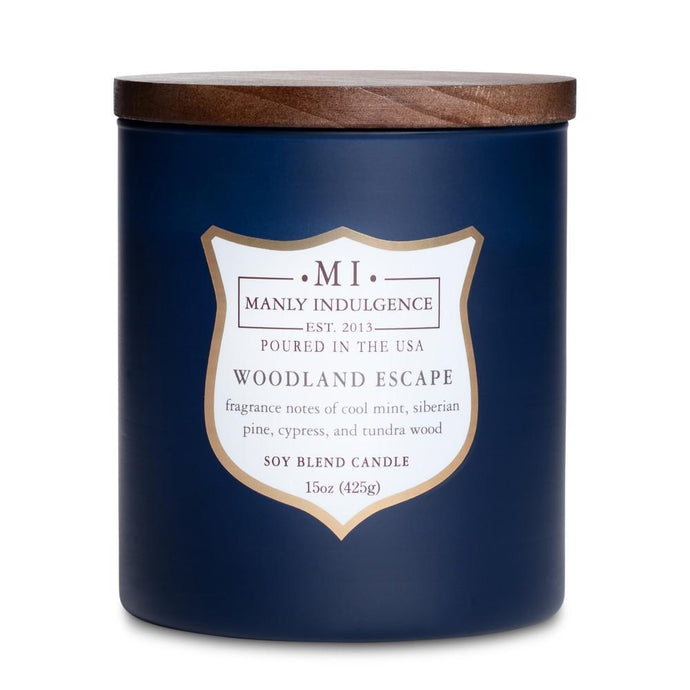 Manly Indulgence Woodland Escape Navy Blue Large 15oz Jar Luxury Candle by Colonial Candle
