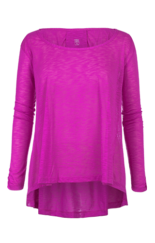 Estie Long Sleeve Hi-Low Top - Fuchsia