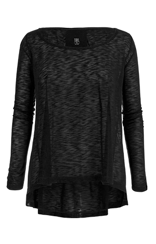Estie Long Sleeve Hi-Low Top - Black