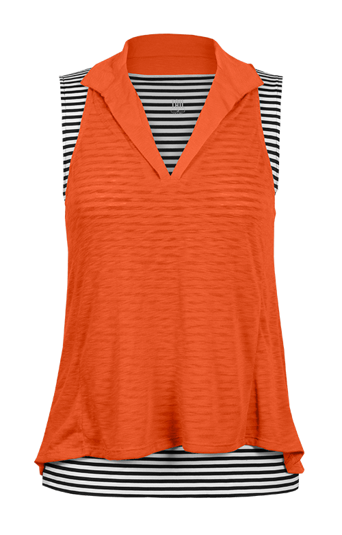 Isla Orange/Black & White Sleeveless Top